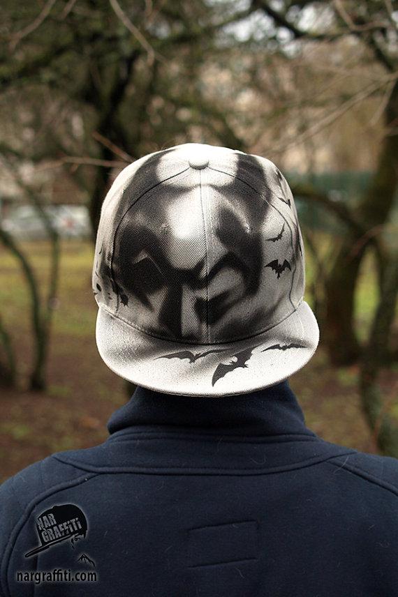 Admirable Batman Custom Graffiti Airbrushed Snapback Hat Cap Gray Best Hairstyles For Men Maxibearus