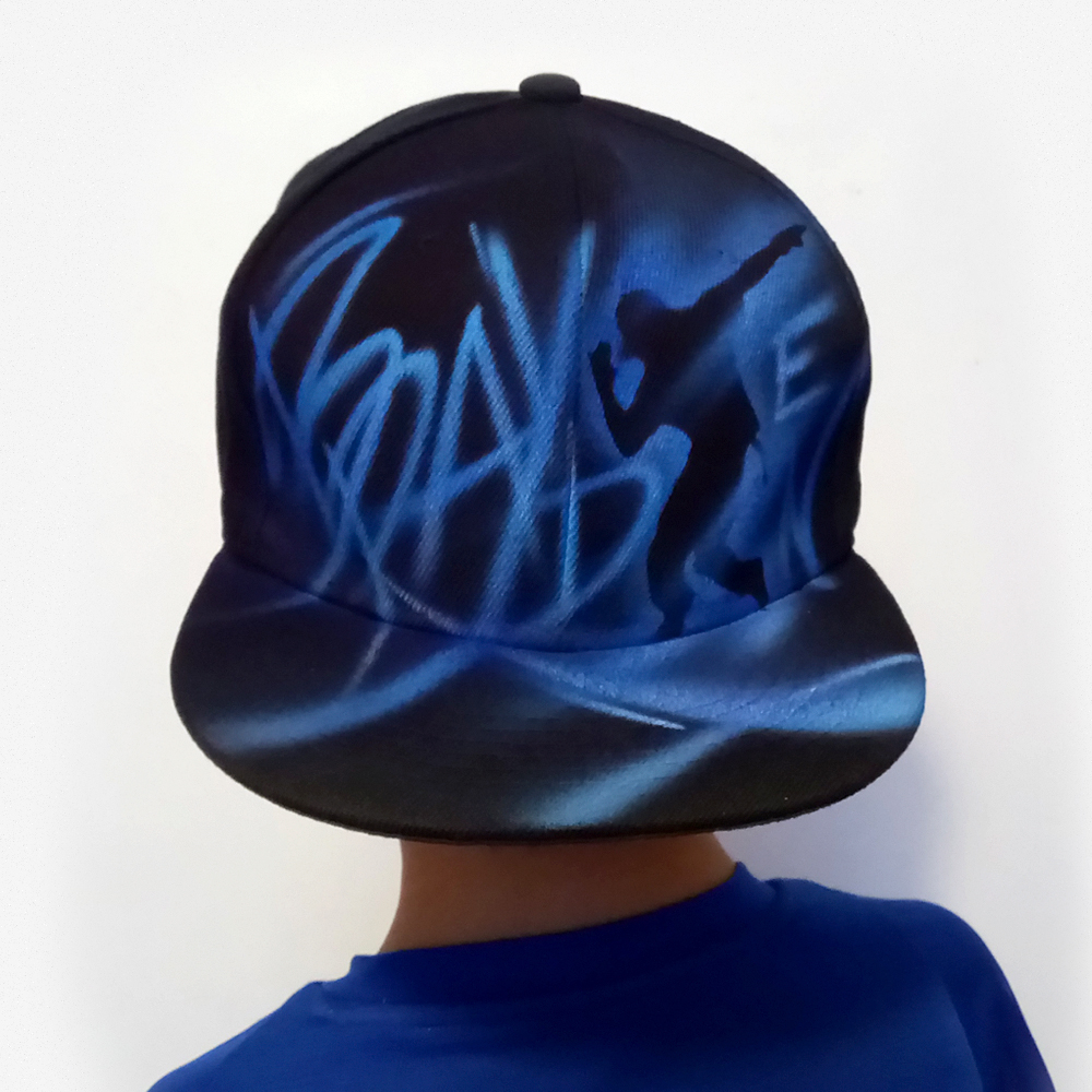 Black Dancer Snapback with airbrushed Custom Name