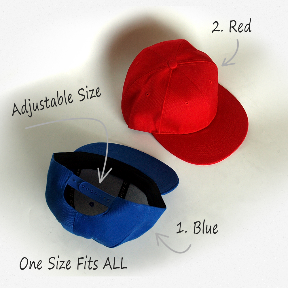 blue and red one size fits all snapback caps adjustable in the back
