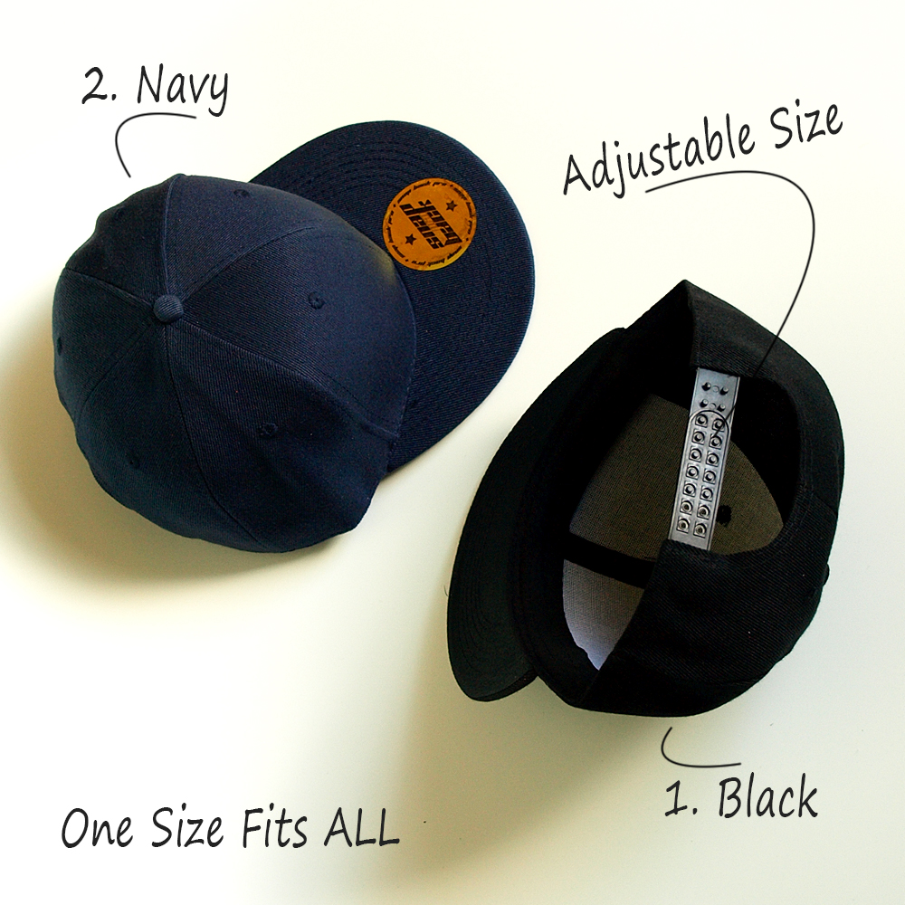 black and navy one size fits all snapback caps adjustable in the back