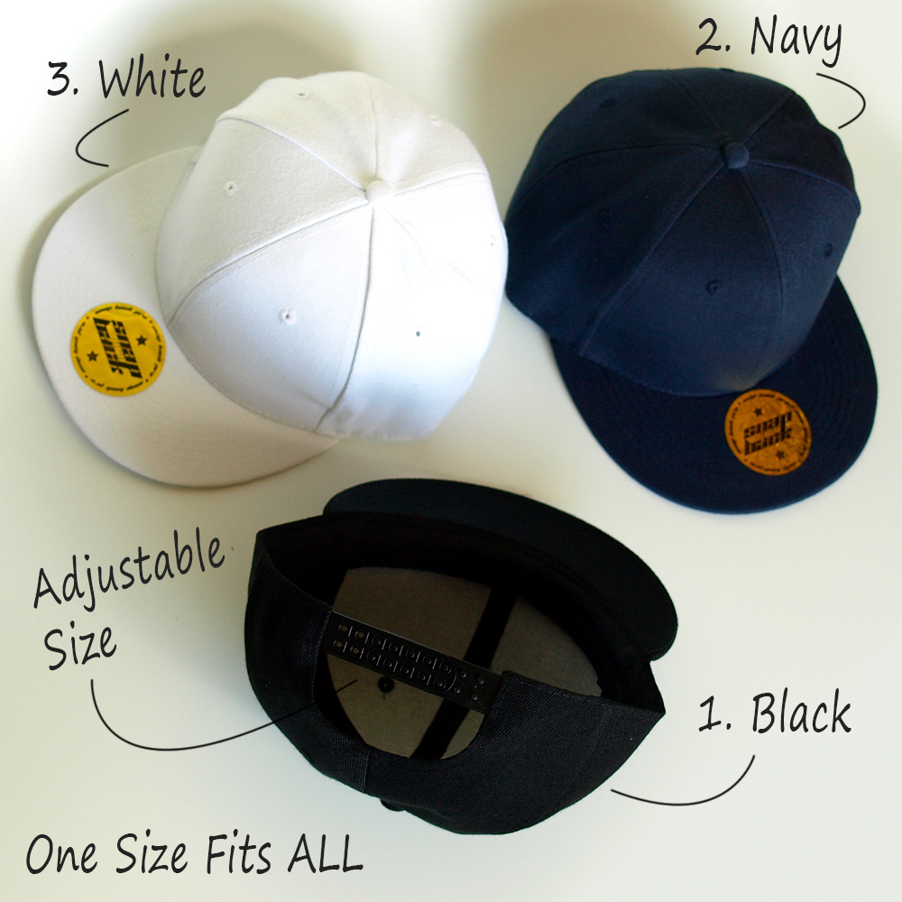 black navy white snapback caps | one size fits all | flat peak | adjustable in the back