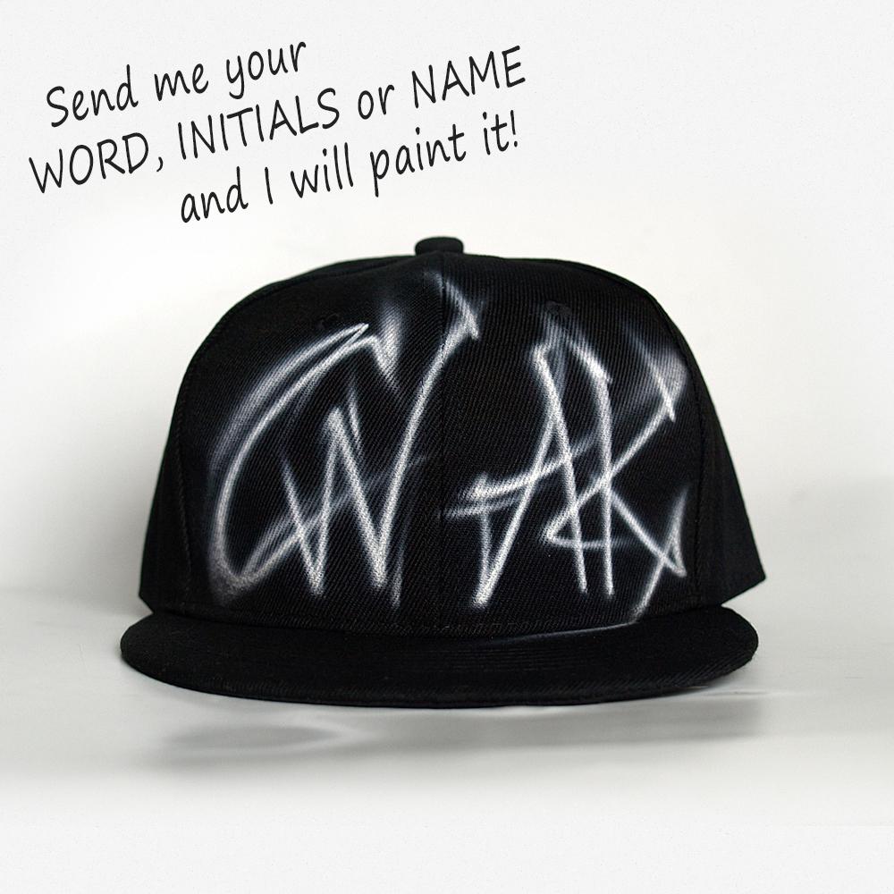 Custom Graffiti Initials Snapback hat | CW AK