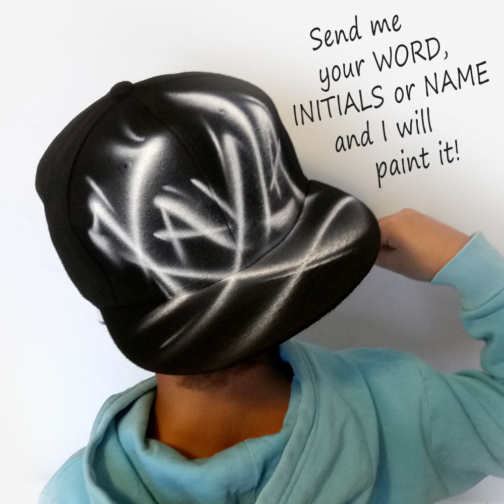 Custom Graffiti airbrushed Snapback hat | Kayla