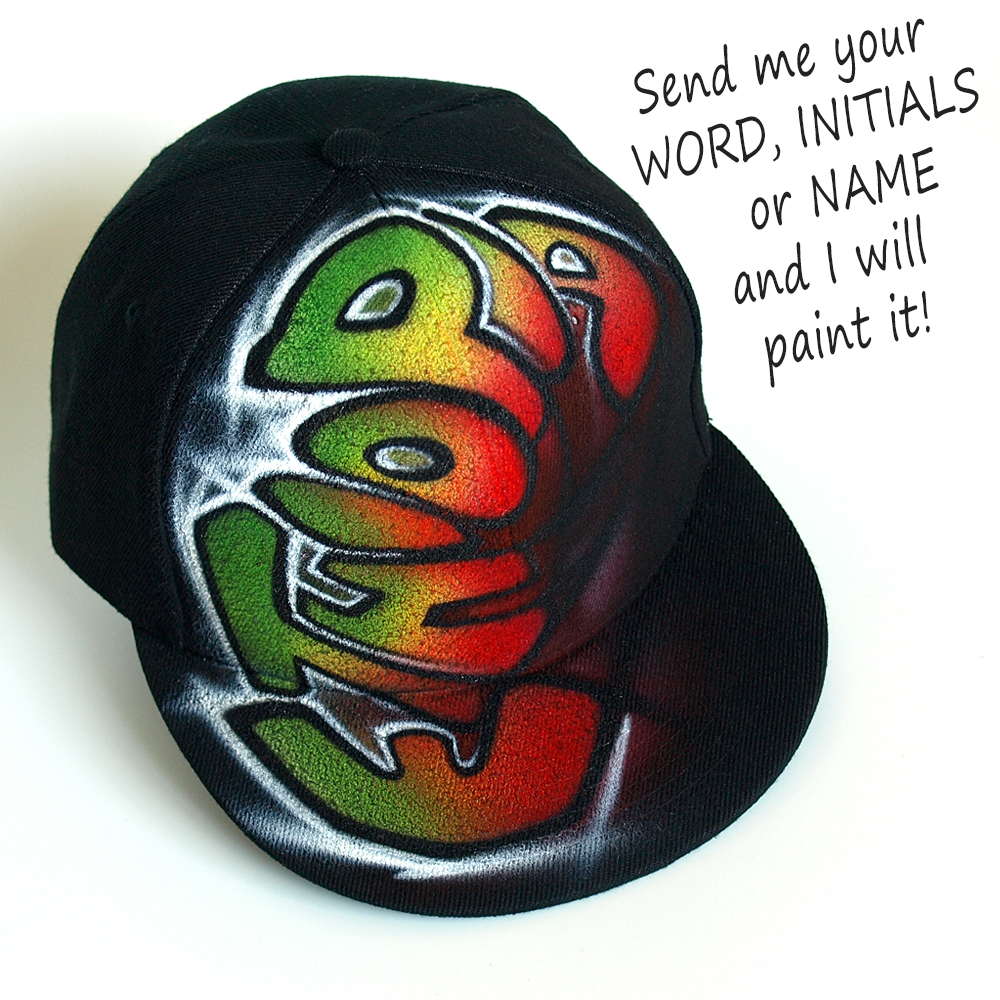 Custom Graffiti airbrushed Snapback hat | Ethiopia