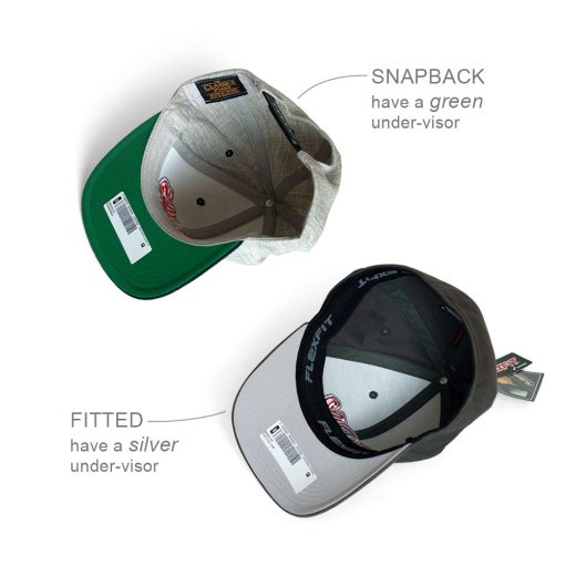 SNAPBACK green under-visor | FITTED silver under-visor
