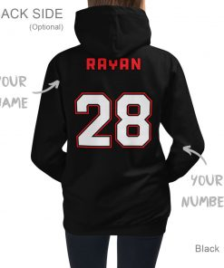 It's a Great Day for Hockey | Black Hoodie for Kids | Personalized Back Side