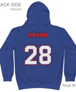 It's a Great Day for Hockey | Royal Blue Hoodie for Kids | Personalized Back Side