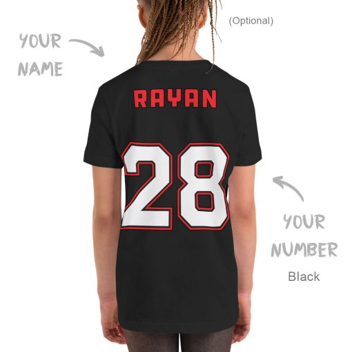 It's a Great Day for Hockey | Kids Tee | Black Color | Personalized Back Side