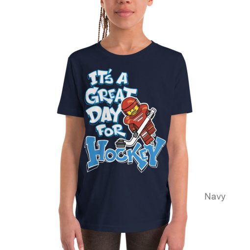 It's a Great Day for Hockey | Kids Tee | Navy Color