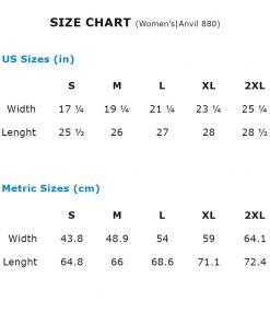 Size Chart - Women's Fashion Fit T-Shirt Anvil 880